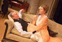 Anthony Head (Sir John Fletcher), Eve Best (Olivia Brown) in LOVE IN IDLENESS by Terence Rattigan opening at the Menier Chocolate Factory, London SE1 on 20/03/2017  design: Stephen Brimson-Lewis light...