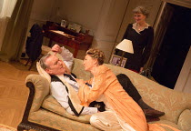 l-r: Anthony Head (Sir John Fletcher), Eve Best (Olivia Brown), Nicola Sloane (Polton) in LOVE IN IDLENESS by Terence Rattigan opening at the Menier Chocolate Factory, London SE1 on 20/03/2017  design...