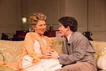 Eve Best (Olivia Brown), Edward Bluemel (Michael Brown) in LOVE IN IDLENESS by Terence Rattigan opening at the Menier Chocolate Factory, London SE1 on 20/03/2017  design: Stephen Brimson-Lewis lightin...