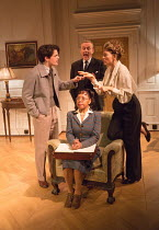 standing, l-r: Edward Bluemel (Michael Brown), Anthony Head (Sir John Fletcher), Eve Best (Olivia Brown) seated: Vivienne Rochester (Miss Dell) in LOVE IN IDLENESS by Terence Rattigan opening at the M...