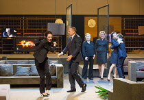 l-r: Chris Nietvelt (Cleopatra), Hans Kesting (Marcus Antonius), Frieda Pittoors (Iris), Janni Goslinga (Diomedes), Marieke Heebink (Charmian) in ANTONY AND CLEOPATRA opening at the Barbican Theatre,...