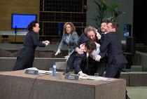 Coriolanus attacks Brutus, l-r: Marieke Heebink (Senator), Maria Kraakman (Cominius), Gijs Scholten van Aschat (Coriolanus), Alwin Pulinckx (Brutus), Ramsey Nasr (Menenius), Eelco Smits (Sicinius) in...