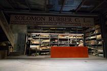 FILTHY BUSINESS by Ryan Craig  design: Ashley Martin-Davis lighting: Rick Fisher director: Edward Hall   set,whole,empty,shop,interior,rubber,goods Hampstead Theatre (HT), London NW3  16/03/2017...