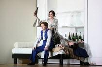l-r: Patricia Bardon (Arsace), Sarah Tynan (Partenope), James Laing (Armindo) in PARTENOPE by Handel opening at English National Opera (ENO), London Coliseum WC2 on 15/03/2017   libretto: Silvio Stam...