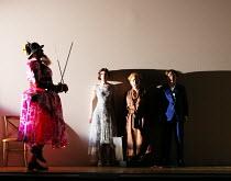 l-r: Matthew Durkan (Ormonte), Sarah Tynan (Partenope), Stephanie Windsor-Lewis (Rosmira/Eurimene), Patricia Bardon (Arsace) in PARTENOPE by Handel opening at English National Opera (ENO), London Coli...