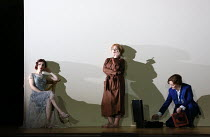 l-r: Sarah Tynan (Partenope), Stephanie Windsor-Lewis (Rosmira/Eurimene), Patricia Bardon (Arsace) in PARTENOPE by Handel opening at English National Opera (ENO), London Coliseum WC2 on 15/03/2017   l...