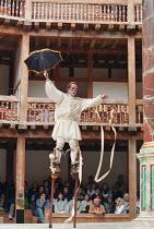 ROMEU & JULIETA based on ROMEO AND JULIET by Shakespeare conceived & directed by Garbriel Villela ~~Eduardo Moreira (Romeu / Romeo) on stilts~Grupo Galpao street theatre (Brazil) / Shakespeare's Globe...