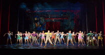 centre: Graeme Henderson (Andy Lee - in yellow check waistcoat) in 42nd STREET opening at the Theatre Royal Drury Lane, London WC2 on 04/04/2017  book: Michael Stewart & Mark Bramble music: Harry Warr...