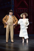 Dorothy reveals her demands: Bruce Montague (Abner Dillon), Sheena Easton (Dorothy Brock) in 42nd STREET opening at the Theatre Royal Drury Lane, London WC2 on 04/04/2017 book: Michael Stewart & Mark...