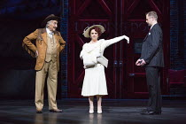 l-r: Bruce Montague (Abner Dillon), Sheena Easton (Dorothy Brock), Tom Lister (Julian Marsh) in 42nd STREET opening at the Theatre Royal Drury Lane, London WC2 on 04/04/2017 book: Michael Stewart & Ma...