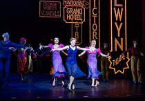 centre: Clare Halse (Peggy Sawyer) in 42nd STREET opening at the Theatre Royal Drury Lane, London WC2 on 04/04/2017 book: Michael Stewart & Mark Bramble music: Harry Warren lyrics: Al Dubin set design...