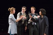 l-r: Anna Maxwell Martin (Kitty), Ben Chaplin (Edward), Adam James (Jake), Priyanga Burford (Rachel) in CONSENT by Nina Raine opening at the Dorfman Theatre, National Theatre (NT), London SE1 on 04/04...