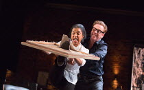 Sophie Okonedo (Stevie), Damian Lewis (Martin) in THE GOAT, OR WHO IS SYLVIA? by Edward Albee opening at the Theatre Royal Haymarket, London SW1 on 05/04/2017   design: Rae Smith lighting: Neil Austin...