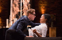 Damian Lewis (Martin), Sophie Okonedo (Stevie) in THE GOAT, OR WHO IS SYLVIA? by Edward Albee opening at the Theatre Royal Haymarket, London SW1 on 05/04/2017 ~design: Rae Smith lighting: Neil Austin...