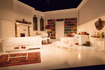 THE PHILANTHROPIST by Christopher Hampton after The Misanthrope by Moliere design: Libby Watson lighting: Mike Robertson director: Simon Callow   stage,set,empty,interior,books,library,white,furniture...