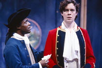 THE RECRUITING OFFICER by George Farquhar design: Ashley Martin-Davis  lighting: Paul Pyant director: Nicholas Hytner l-r: Paterson Joseph (Mr Worthy), Alex Jennings (Captain Plume)Olivier Theatre, Na...