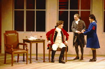 THE RECRUITING OFFICER by George Farquhar design: Ashley Martin-Davis  lighting: Paul Pyant director: Nicholas Hytner l-r: Alex Jennings (Captain Plume), David Ross (Mr Balance), Sally Dexter (Silvia)...