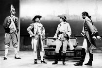 THE RECRUITING OFFICER   by George Farquhar   design: Peter Hartwell    director: Max Stafford-Clark   l-r: Clive Russell (Kite), Ron Cook (Captain Brazen), Amanda Redman (Silvia), Julian Wadham (Capt...