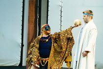 PERICLES  by Shakespeare  design: Bruno Santini  lighting: Ben Ormerod   director: James Roose-Evans   l-r: Terence Knapp (The Bawd), Stephen Beckett (Pericles, Prince of Tyre)  Ludlow Festival, Lud...