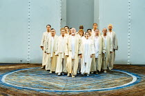 PERICLES  by Shakespeare  design: Bruno Santini  lighting: Ben Ormerod   director: James Roose-Evans   the company with front centre, l-r: Rula Lenska, Jeffery Dench, Emily Pithon  Ludlow Festival,...