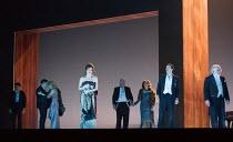 l-r from centre: Audrey Luna (Leticia Maynar), Thomas Allen (Alberto Roc), Christine Rice (Blanca Delgado), David Adam Moore (Colonel Alvaro Gomez), John Tomlinson (Doctor Carlos Conde) in THE EXTERMI...