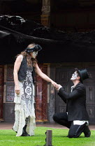 Kirsty Bushell (Juliet), Edward Hogg (Romeo) in ROMEO AND JULIET by Shakespeare opening at Shakespeare's Globe, London SE1 on 27/04/2017 ~design: Soutra Gilmour lighting: Charles Balfour choreographer...