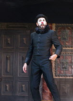 Gareth Snook (Lord Capulet - with microphone in rim of hat) in ROMEO AND JULIET by Shakespeare opening at Shakespeare's Globe, London SE1 on 27/04/2017   design: Soutra Gilmour lighting: Charles Balf...