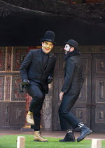 l-r: Tim Chipping (Paris), Gareth Snook (Lord Capulet) in ROMEO AND JULIET by Shakespeare opening at Shakespeare's Globe, London SE1 on 27/04/2017   design: Soutra Gilmour lighting: Charles Balfour c...
