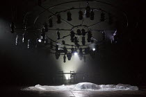 SALOME by Yael Farber design: Susan Hilferty lighting: Tim Lutkin movement: Ami Shulman fights direction: Kate Waters director: Yael Farber  empty stage, lights, lighting rig, sheetOlivier Theatre / N...