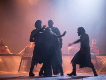 death of Salome: Isabella Nefar (Salome so-called) in SALOME by Yael Farber opening at the Olivier Theatre, National Theatre (NT), London SE1 on 09/05/2017  design: Susan Hilferty lighting: Tim Lutkin...