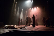 front left: Olwen Fouere (Nameless) with the company in SALOME by Yael Farber opening at the Olivier Theatre, National Theatre (NT), London SE1 on 09/05/2017  design: Susan Hilferty lighting: Tim Lutk...