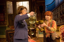 l-r: Maureen Lipman (Lotte Schoen), Felicity Kendal (Lettice Douffet) in LETTICE AND LOVAGE by Peter Shaffer opening at the Menier Chocolate Factory, London SE1 on 17/05/2017 design: Robert Jones ligh...