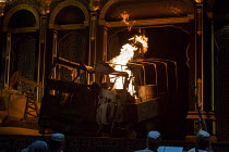 burning army truck in HIPERMESTRA by Cavalli opening at Glyndebourne Festival Opera on 20/05/2017   Glyndebourne, East Sussex, England music: Francesco Cavalli libretto: Giovanni Andrea Moniglia con...