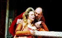 HAMLET by Shakespeare Master of Clothing & Properties: Jenny Tiramani Master of Play: Giles Block   III/i - Joanna McCallum (Gertrude), Tim Woodward (Claudius) Shakespeare's Globe, London SE1  09/06/2...