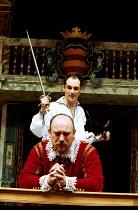 HAMLET by Shakespeare Master of Clothing & Properties: Jenny Tiramani Master of Play: Giles Block   III/iii - (front) Tim Woodward (Claudius),  Mark Rylance (Hamlet) Shakespeare's Globe, London SE1  0...