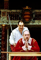HAMLET by Shakespeare Master of Clothing & Properties: Jenny Tiramani Master of Play: Giles Block   III/iii - (front) Tim Woodward (Claudius), Mark Rylance (Hamlet) Shakespeare's Globe, London SE1  09...