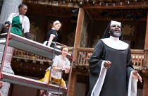 l-r: Nandi Bhebhe (Fabian), Carly Bawden (Maria), Katy Owen (Malvolio), Le Gateau Chocolat (Feste) in TWELFTH NIGHT by Shakespeare opening at Shakespeare's Globe, London SE1 on 24/05/2017 design: Lez...