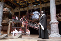 centre: Katy Owen (Malvolio), (above) Carly Bawden (Maria) right: Le Gateau Chocolat (Feste) in TWELFTH NIGHT by Shakespeare opening at Shakespeare's Globe, London SE1 on 24/05/2017 design: Lez Brothe...