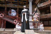 front: Le Gateau Chocolat (Feste) rear right: Katy Owen (Malvolio), (above) Carly Bawden (Maria) in TWELFTH NIGHT by Shakespeare opening at Shakespeare's Globe, London SE1 on 24/05/2017 design: Lez Br...