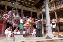front centre, l-r: Nandi Bhebhe (Fabian), Katy Owen (Malvolio), Le Gateau Chocolat (Feste) rightL: Carly Bawden (Maria) in TWELFTH NIGHT by Shakespeare opening at Shakespeare's Globe, London SE1 on 24...