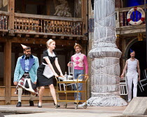 l-r: Tony Jayawardena (Sir Toby Belch), Carly Bawden (Maria), Marc Antolin (Sir Andrew Aguecheek), Pieter Lawman (Antonio) in TWELFTH NIGHT by Shakespeare opening at Shakespeare's Globe, London SE1 on...