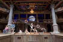 front left: Marc Antolin (Sir Andrew Aguecheek), Tony Jayawardena (Sir Toby Belch) centre: Carly Bawden (Maria) in TWELFTH NIGHT by Shakespeare opening at Shakespeare's Globe, London SE1 on 24/05/2017...