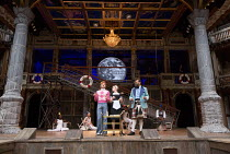 front, l-r: Marc Antolin (Sir Andrew Aguecheek), Carly Bawden (Maria), Tony Jayawardena (Sir Toby Belch) in TWELFTH NIGHT by Shakespeare opening at Shakespeare's Globe, London SE1 on 24/05/2017 design...