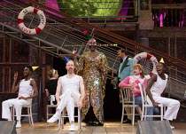centre, l-r: Pieter Lawman (Antonio), Le Gateau Chocolat (Feste), Tony Jayawardena (Sir Toby Belch), Marc Antolin (Sir Andrew Aguecheek) in TWELFTH NIGHT by Shakespeare opening at Shakespeare's Globe,...