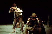 WAITING FOR GODOT by Beckett  design: Matias  director: Samuel Beckett l-r: Horst Bollmann (Estragon), Carl Raddatz (Pozzo)Schiller Theatre, Berlin production / Royal Court Theatre, London SW1  22/04/...