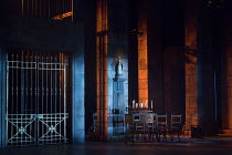 TOSCA by Puccini  conductor: Gianluca Marciano design: Francis O'Connor lighting: David Plater director: Peter Relton   set detail  church interior  Madonna  candles Grange Park Opera, The Theatre i...