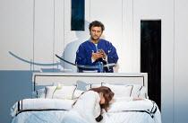 final bedroom scene, Otello prepares to kill Desdemona: Maria Agresta (Desdemona), Jonas Kaufmann (Otello) in OTELLO by Verdi opening at The Royal Opera, Covent Garden, London WC2 on 21/06/2017  libre...