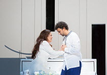 final bedroom scene: Maria Agresta (Desdemona), Jonas Kaufmann (Otello) in OTELLO by Verdi opening at The Royal Opera, Covent Garden, London WC2 on 21/06/2017  libretto: Arrigo Boito after Shakespeare...