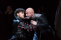 l-r: Thomas Atkins (Roderigo), Marco Vratogna (Iago) in OTELLO by Verdi opening at The Royal Opera, Covent Garden, London WC2 on 21/06/2017 libretto: Arrigo Boito after Shakespeare's OTHELLO conductor...