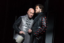 l-r: Marco Vratogna (Iago), Thomas Atkins (Roderigo) in OTELLO by Verdi opening at The Royal Opera, Covent Garden, London WC2 on 21/06/2017 libretto: Arrigo Boito after Shakespeare's OTHELLO conductor...